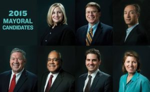 The candidates in order from left to right. Top Row: Megan Barry, Charles Robert Bone, David Fox. Bottom Row: Bill Freeman, Howard Gentry, Jeremy Kane, and Linda Eskind Rebrovick Photographs by Eric England for the Nashville Scene