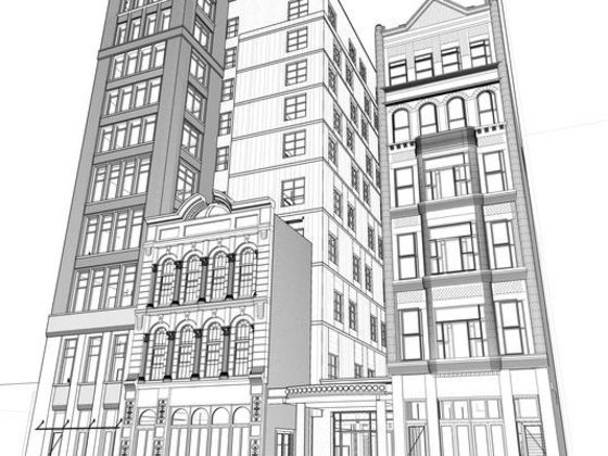 An elevation showing a Fourth Avenue perspective of the planned Dream Nashville hotel in the Printers Alley area, including the Climax Saloon and Utopia Hotel (Photo: ESa)