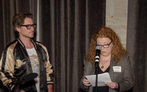 Recording artist Nutch Walker and HNI Nashville Nine chair Sharon Corbitt-House announcing the 2016 Nashville Nine, Photo: Richard Malone